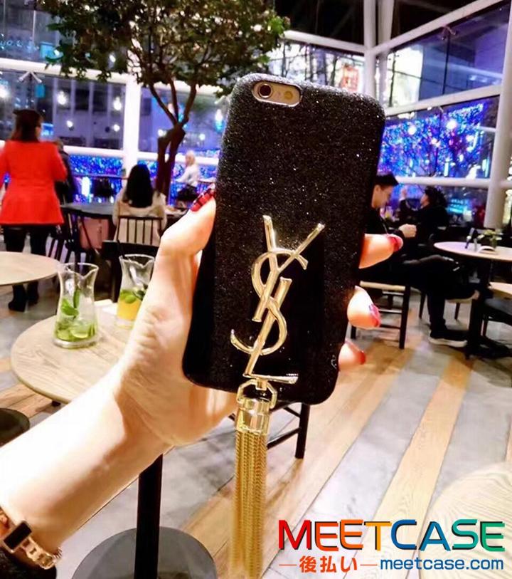 YSL iPhone7plusケース タッセル付き iPhone7 ケース イヴサンローラン iPhone8 カバー きらきら iPhone8plusケース おしゃれ