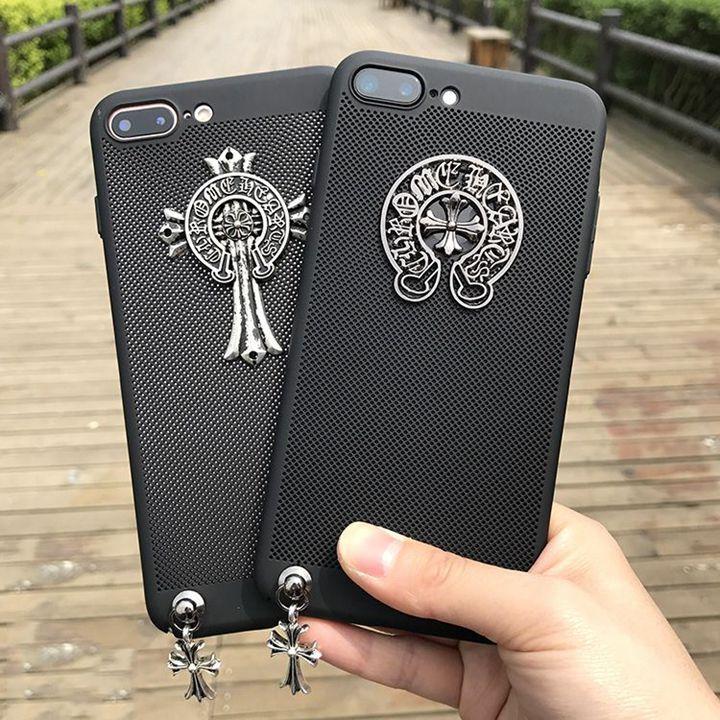 iPhoneXケース ファッション クロムハーツ iPhone8 8 Plus ケース 透かし彫り 散熱性