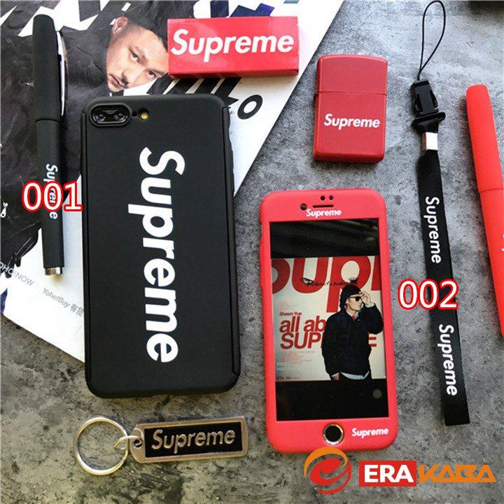 SUPREME iPhone8ケース 超薄型 両面ケース 360°全面保護 フルガードカバー