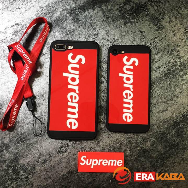 簡約風 シュプリーム iPhone8 携帯ケース シリカゲル製 鏡面 英字紋