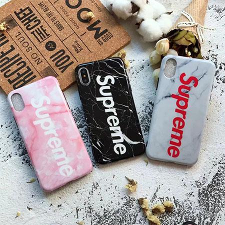 iphoneX用ケース シュプリーム 強化ガラス フィルム付き Supreme カップル向け iphone8カバー supreme iphone8plusケース 大理石柄 傷や衝撃に強い フル保護