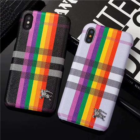 バーバリー アイフォンケース iphonexケース チェック柄 Burberry iphone8plus レザー製ブランドケース