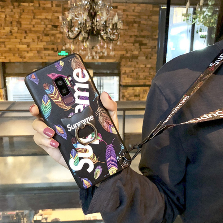 シュプリーム GalaxyS9/S9plusケース ストリート 羽柄 パロディー おしゃれ