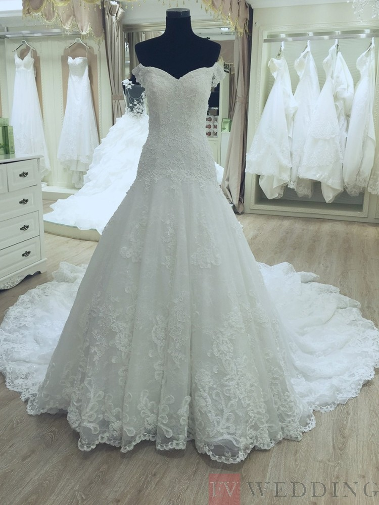 Beautiful Appliques Off The Shoulder A Line Wedding Dress