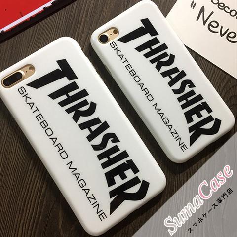 THRASHER スラッシャー ブランド iPhone8ケース スラッシャーマガジン ロゴプリント スケボー風 シンプル ストリート系 iPhoneX iPhone7 カバー