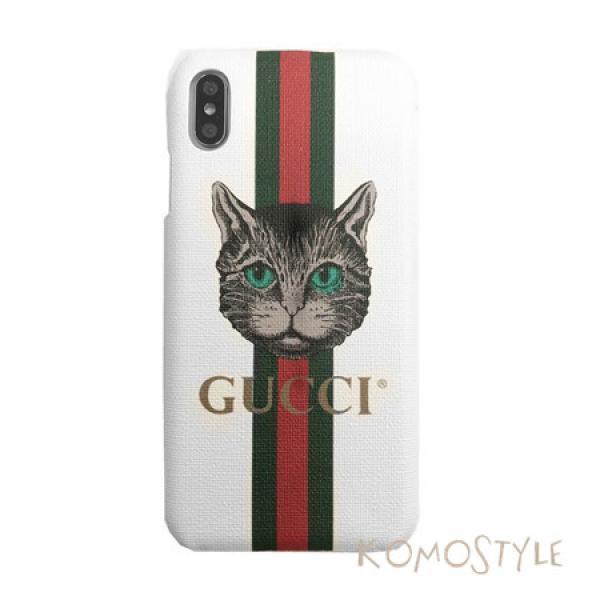 グッチ 猫 モチーフ iphoneXsケース Gucci iphoneXsMAXブランドケース キャット 可愛いiphoneXrスマホケース