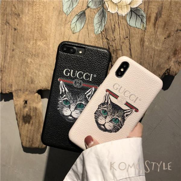 iphoneXケース グッチ 猫 iphone8/8plus 可愛いスマホケース Gucci