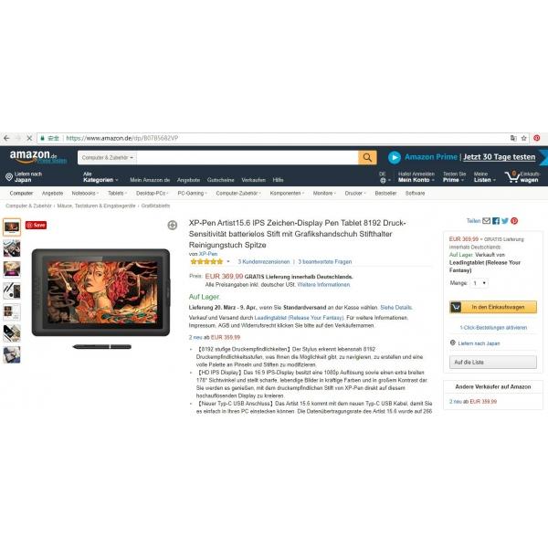grafiktablett XP-Pen Artist15.6 Pen Tablet mit display günstig
