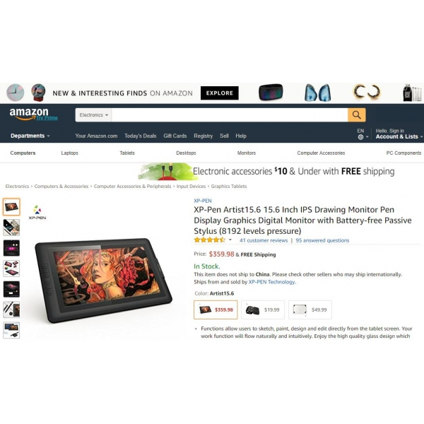cheap Graphics Drawing Tablet XP-PEN Artist15.6 for artists