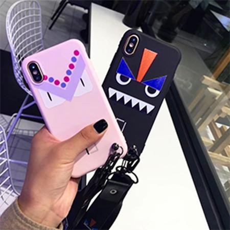 デザインケース フェンディ iPhone Xケース 怒りの目 Fendi iphone8ケース 可愛い fendi iphone7ケース ネックストラップ付き モンスター カップル愛用